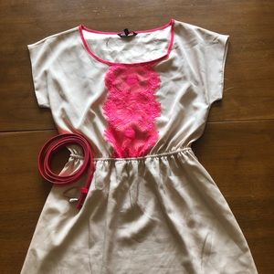 Express belted blush and lace dress medium NWOT